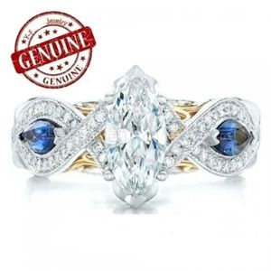New Marquise Blue Sapphire & Topaz .925 Silver!